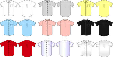Short sleeve shirts templates and color variation.