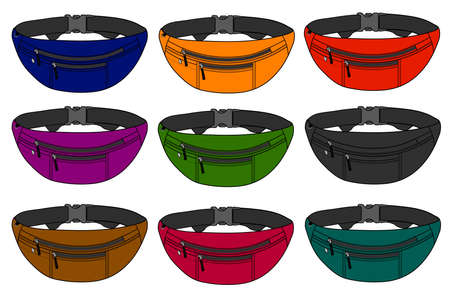 Illustration of fanny pack and color variations. Vectores