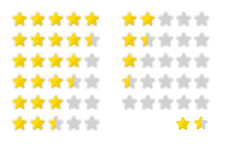 Five-star rating icon set, vector illustration.
