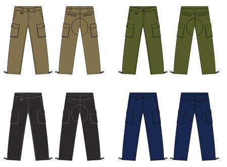 Illustration of mens cargo pants  color variations
