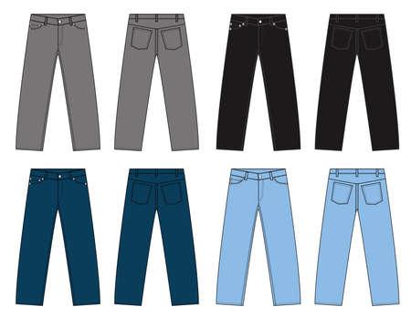 Illustration of slim denim pants  color variations Illustration