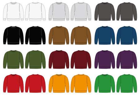Conjunto de sudaderas en diferentes variaciones de color.