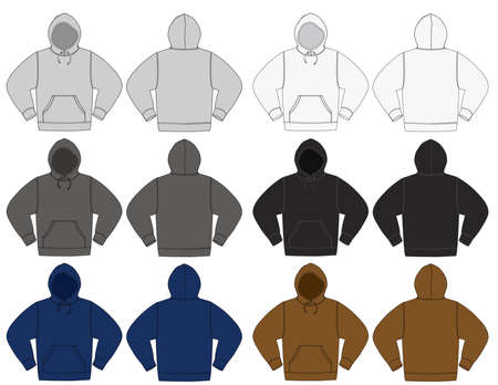Set of hooded sweatshirts in different color variations.