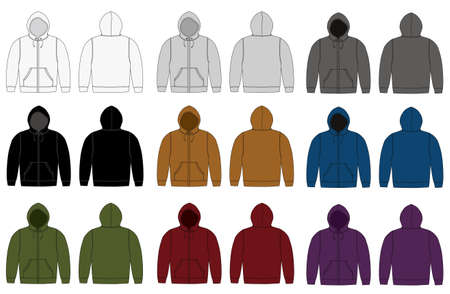 Set of hooded sweatshirts in different color variations. Stok Fotoğraf - 90862946