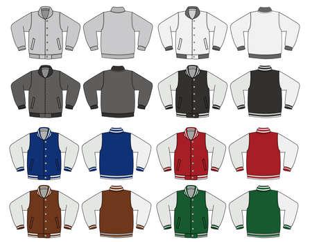 Illustration of baseball jacket and color variations.