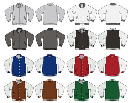 Illustration of baseball jacket and color variations.