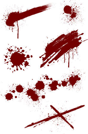 Blood splashing pattern on white background, vector illustration. Ilustração