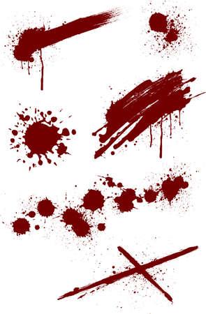 Blood splashing pattern on white background, vector illustration. Vectores