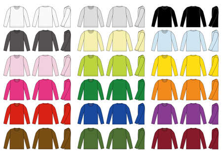 Long sleeve t-shirt illustration set  イラスト・ベクター素材