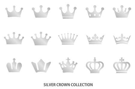 Silver crown icon [vector] 일러스트