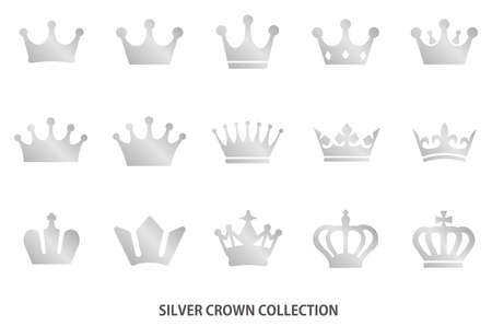Silver crown icon [vector] Illustration