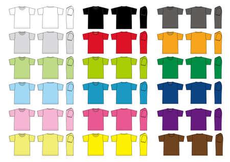 T-shirts illustration set. Color variations.