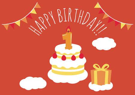 1 Jahr altes Geburtstagskarte Standard-Bild - 91384555