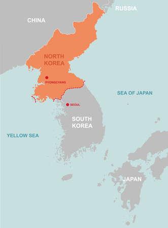 Nordkorea und Umgebung Länder Kartensymbol Standard-Bild - 91341338