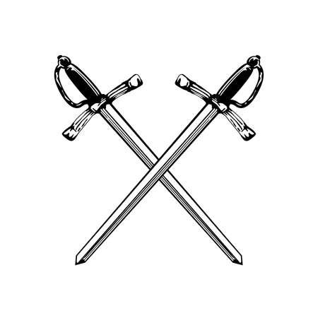 交差した剣の図。