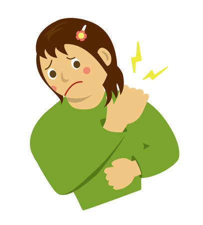 Woman with stiff neck illustration