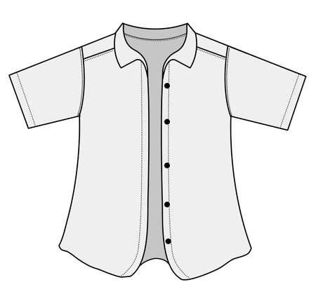 Korte mouw knop shirt illustratie Stockfoto - 91384335