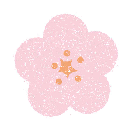 New years greeting stamp illustration material cherry and plum flower