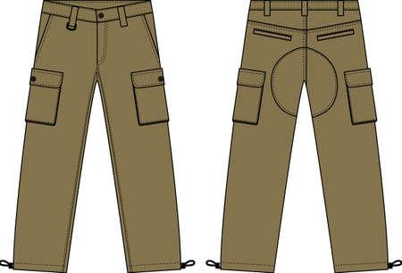 Ilustração de calças de carga dos homens