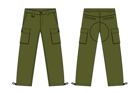 Illustration of mens cargo pants (kahki)