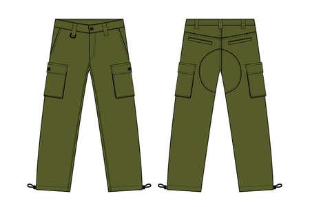 Illustration of men's cargo pants (kahki)