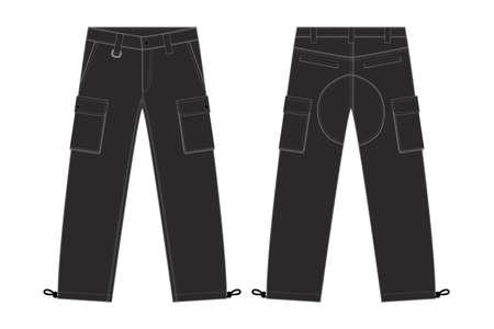 Illustration of mens cargo pants on white background.