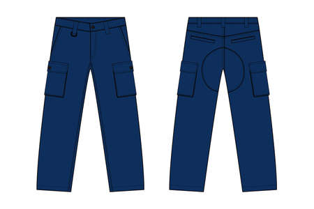 Illustration of men's denim pantsin front and back view illustration.
