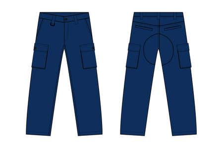 Illustration of men's denim pantsin front and back view illustration.