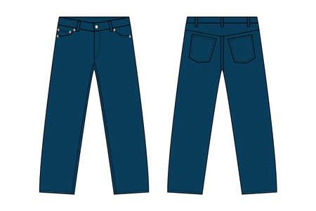 Dark blue illustration slim pants.