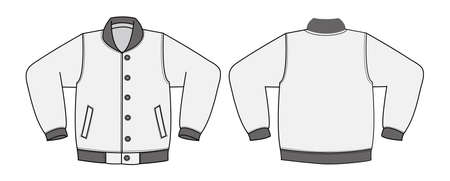 Illustration of varsity jacket on white background.