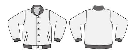 Illustration of varsity jacket on white background. Vettoriali