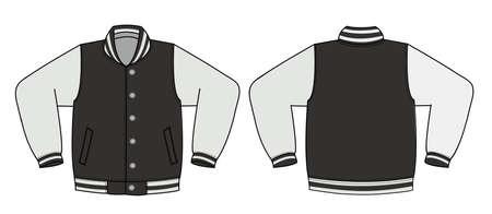 ●前後図イラストでバリエーションジャケット/ブラックのイラスト。 写真素材 - 91711627