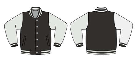 Illustration of varsity jacket / black in front and back view illustration. Фото со стока - 91711627