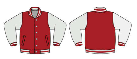 Illustration of varsity jacket / red in front and back view illustration.