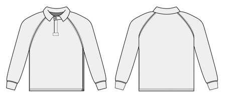 Long-sleeve polo shirt, jersey shirt  white