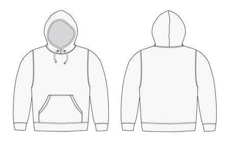 Illstration of hoodie (hooded sweatshirt) / white
