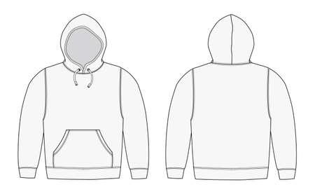 Illstration of hoodie (hooded sweatshirt) / white