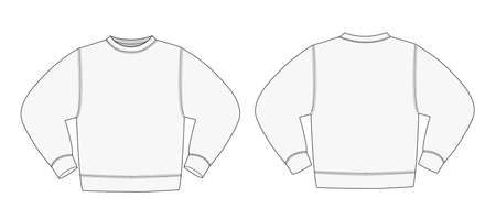 Illustration of sweat shirt  gray  in front and back view illustration. Illustration