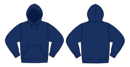 Illustrazione della felpa con cappuccio in blu navy.
