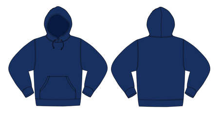 Illustration of hoodie in navy blue. Illustration