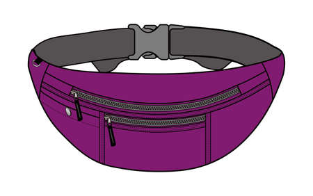 Illustration of fanny pack (waist pouch) and purple Illustration