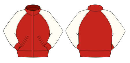 Illustration of jumper and training wear in color red,  in front and back view illustration.