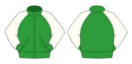 Illustration of jumper and training wear,  color green  in front and back view illustration.