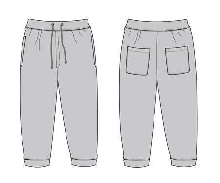 Illustration of Sweat Pants  in front and back view illustration. Çizim