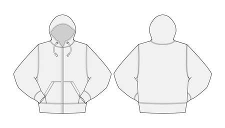 Illustration of hoodie,hooded sweatshirt with front zipper, in front and back view illustration.