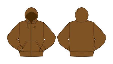 Illustration of hoodie (hooded sweatshirt  front zipper)  brown