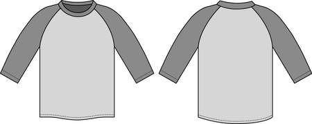 Raglan sleeve t-shirt in front and back view illustration.