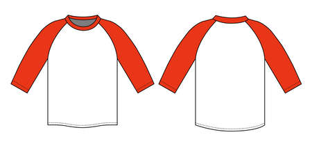 Raglan sleeve t-shirt illustration (red) Иллюстрация