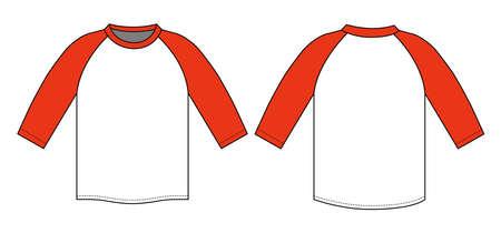 Raglan sleeve t-shirt illustration (red) Illustration