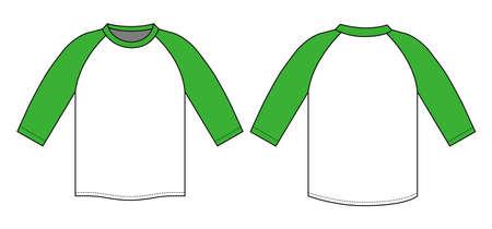 Raglan sleeve t-shirt illustration (green)